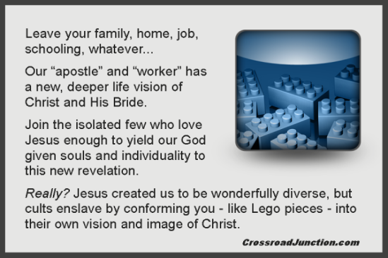 Conforming to someone's idea of Christ, His grand vision, the deeper life or God's epic purpose can be just as legalistic and limiting as any institutional church structure. In fact, it can become cultish. Break free and become the wonderful, multifaceted, multi-gifted and diverse Body of Christ!  See God in a Box