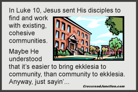 "It's amazing how ekklesia takes root when you empower Christ in existing community, rather than trying to bring ""church"" to them, take them to ""church"" or do ""church"" for them.Jesus at the Fringes"